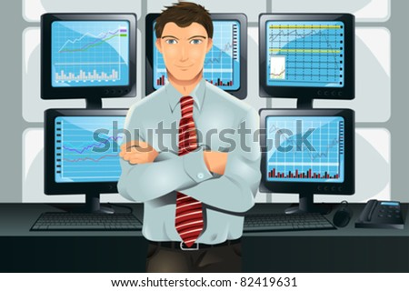 A vector illustration of a stock trader in his office in front of multiple monitors showing graphs - stock vector