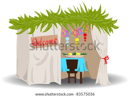 A Vector illustration of a Sukkah decorated with ornaments for the Jewish Holiday Sukkot. - stock vector