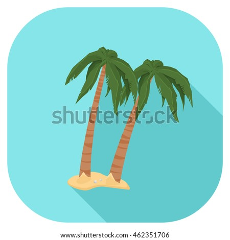 A vector illustration of a summer vacation palm trees Flat Icon. Palm Trees on beach internet Icon Summer Vacation Concept.