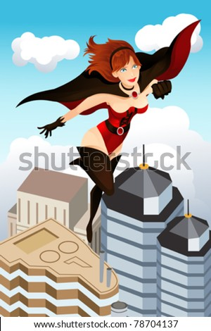 A vector illustration of a super hero flying above the city - stock vector