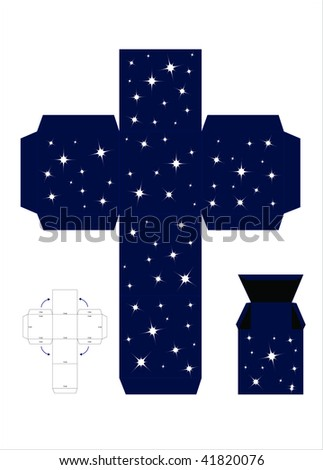 A vector illustration of a template for creating a gift box. Night sky effect. - stock vector