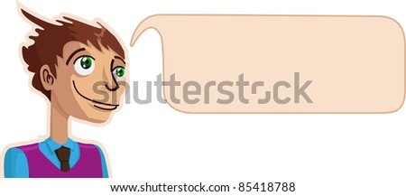 A vector illustration of a thinking guy. All objects can be moved and scaled separately and without quality loss. - stock vector