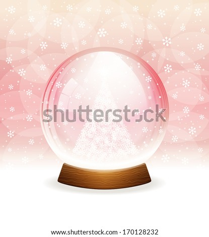 A vector illustration of a transparent snow globe with a Christmas tree. Includes transparent objects  and opacity masks. Layered.