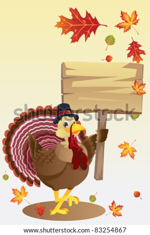 A vector illustration of a turkey carrying a blank sign