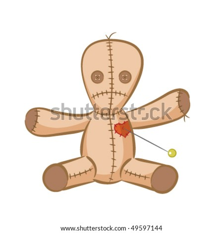 A vector illustration of a voodoo doll. - stock vector