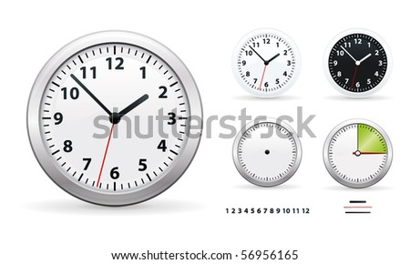 A vector illustration of a wall office clocks - stock vector