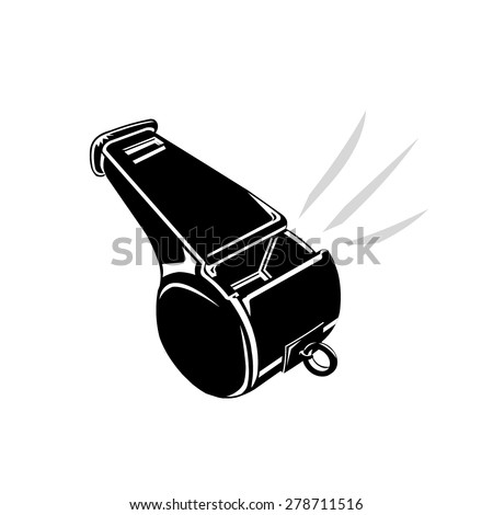 A vector illustration of a whistle being blown. Whistle being blown illustration icon. Whistle blower concept icon. - stock vector