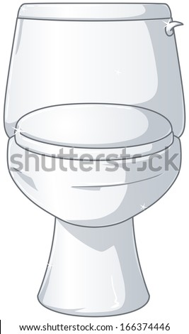 A Vector Illustration Of White Shiny Toilet With The Lid Closed