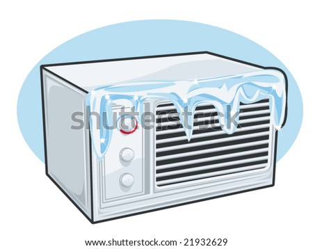 a vector illustration of a window air conditioner with ice on it.... ice can easily be removed.. - stock vector