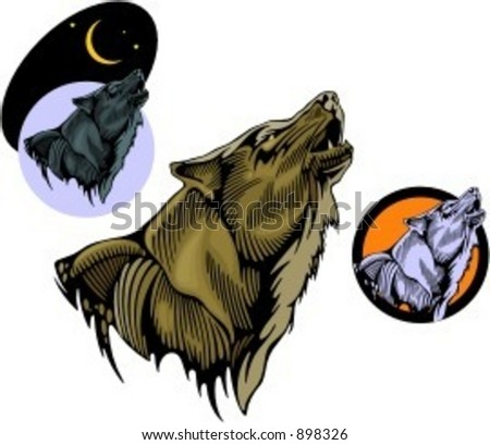 A vector illustration of a wolf in woodcut style. Very clean vectors. - stock vector
