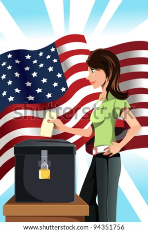 A vector illustration of a woman inserting her votes into the ballot box - stock vector
