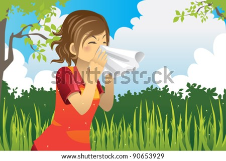 A vector illustration of a woman sneezing outdoor