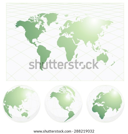 A vector illustration of a world map with three globes of americas, asia pacific, europe or africa continents.