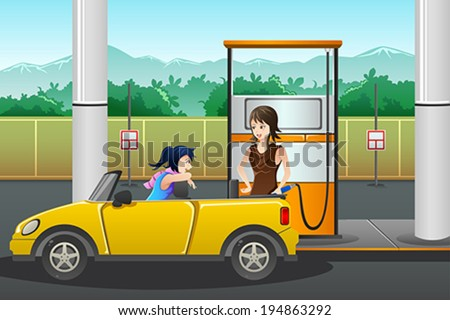 A vector illustration of a young woman  filling up gasoline at the gas station - stock vector