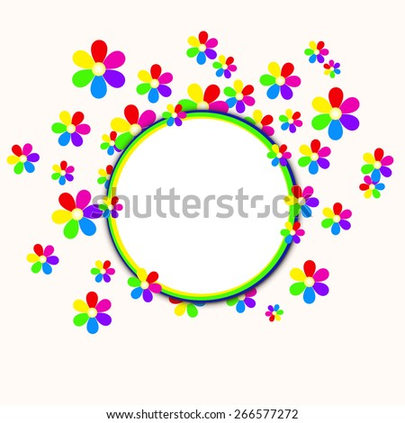 A vector illustration of abstract colored flowers Frame. Objects are grouped and layered for easy editing. Global colors used .   Files included:  EPS10 and Large High Res JPG. - stock vector