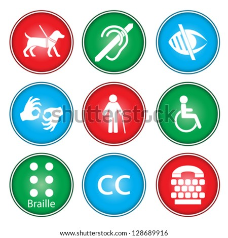 A vector illustration of accessibility icon sets - stock vector