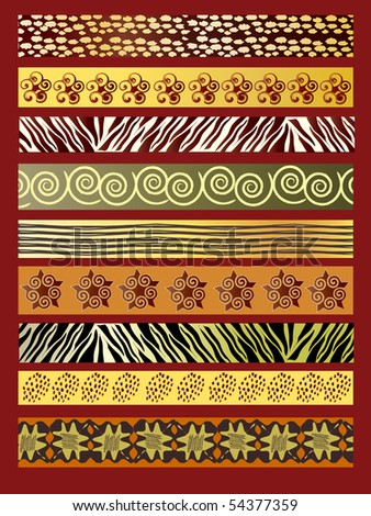 A vector illustration of African fabric in earth tones - stock vector
