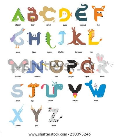 A vector illustration of alphabet animal from A to Z - stock vector