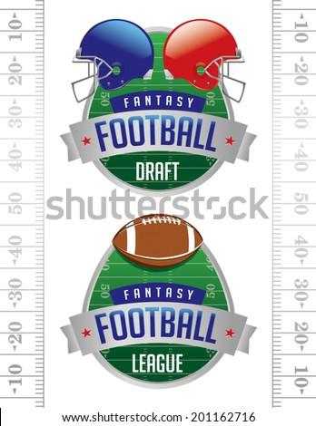 A vector illustration of American Fantasy Football badges. Vector EPS 10. File contains transparencies. - stock vector