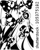 A vector illustration of an abstract black and white 3 dimensional flowers drawing. - stock vector