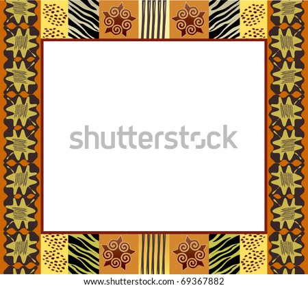 A vector illustration of an African style frame in earth tones. Space for your text or picture. EPS10 vector format. - stock vector