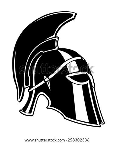 A vector illustration of an antique Spartan Helmet. Spartan Helmet. Antique body Armour.  - stock vector
