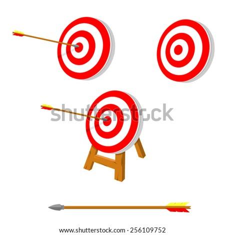 A vector illustration of an arrow hitting its target. Archery and target. Arrow hitting target concept. - stock vector