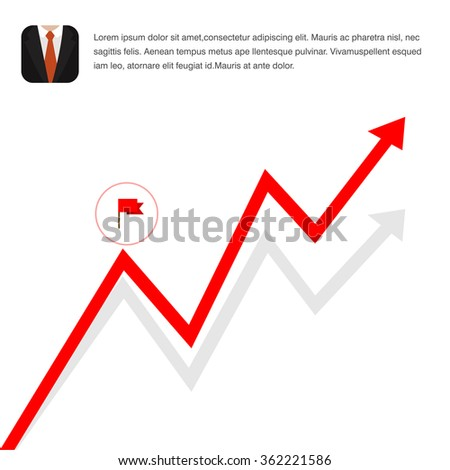 A vector illustration of an economic graph. Flat Icon Illustration marking an economic recovery. Graph with arrow going up. - stock vector