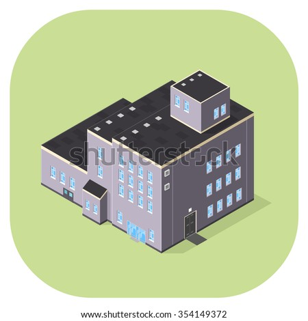 A vector illustration of an industrial factory or warehouse. Isometric Warehouse Building Icon illustration. Industrial production manufacturing facility.
