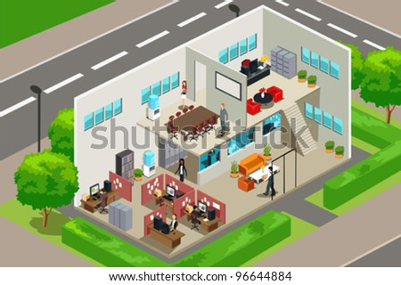 A vector illustration of an inside look of a business office - stock vector