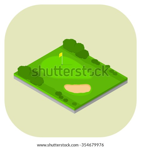 A vector illustration of an isometric golf course. Isometric golf sport icon illustration Golf hole and sand trap bunker. - stock vector