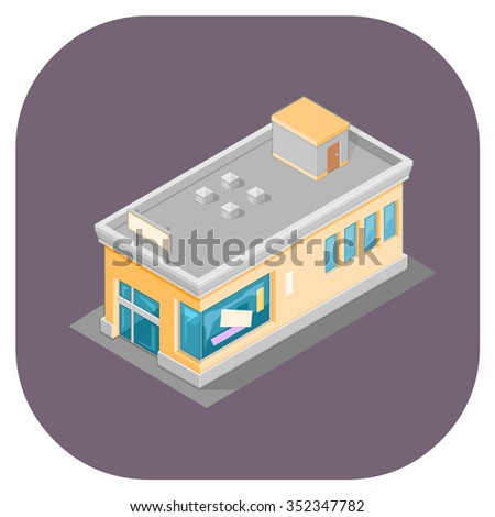 A vector illustration of an Isometric shop.  Vector isometric supermarket store illustration.  Isometric retail Store concept. - stock vector