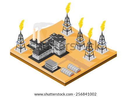 A vector illustration of an oil refinery with oil fields and storage facilities. Isometric oil refinery with oil fields. Manufacturing and refining oil in the middle east. - stock vector