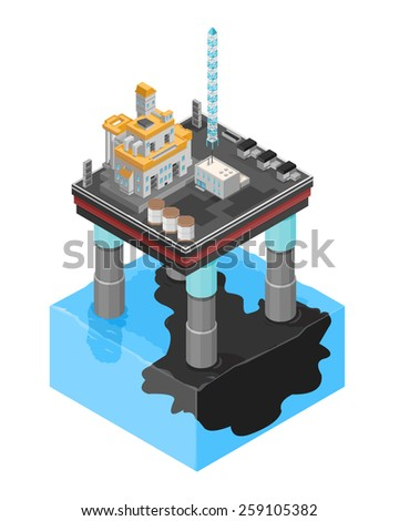 A vector illustration of an oil slick icon. Isometric oil slick icon. Oil Platform leaking oil into the ocean. - stock vector