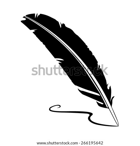 A vector illustration of an old quill and ink. Feather Quill and ink. A retro image of a writing with quill icon. - stock vector