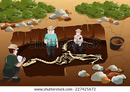 A vector illustration of archaeologist discovering a dinosaurs fossil - stock vector