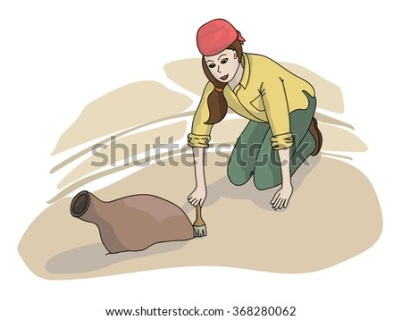 A vector illustration of archaeologist discovering a jug
