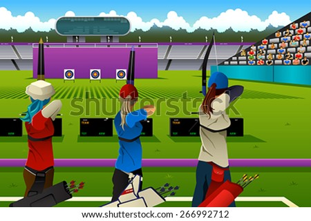 A vector illustration of archers in the archery match for sport competition series - stock vector