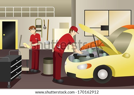 A vector illustration of auto mechanic working on a car - stock vector