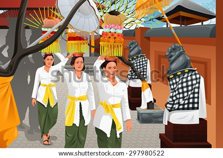 A vector illustration of Balinese women bring offerings of fruits and gifts - stock vector