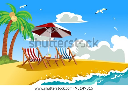 A vector illustration of beach chairs on the tropical beach - stock vector