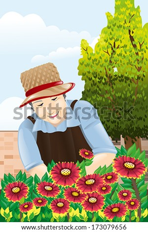 A vector illustration of beautiful senior woman gardening - stock vector