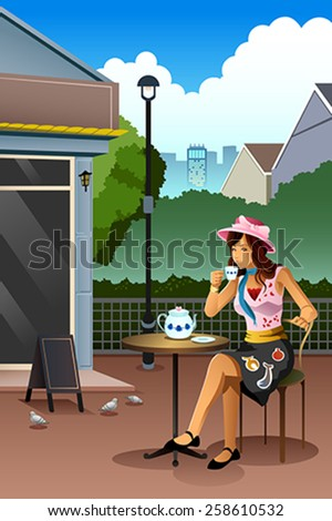 A vector illustration of beautiful woman drinking coffee in a cafe - stock vector