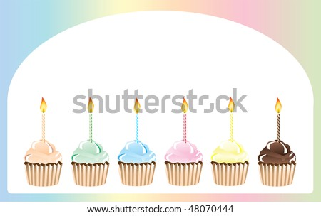 a vector illustration of birthday cupcakes in rainbow shades with space for text
