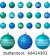 A vector illustration of blue and aqua different patterned Christmas baubles on a white background. - stock vector