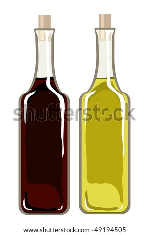 A vector illustration of bottles of olive oil and balsamic vinegar isolated on white - stock vector