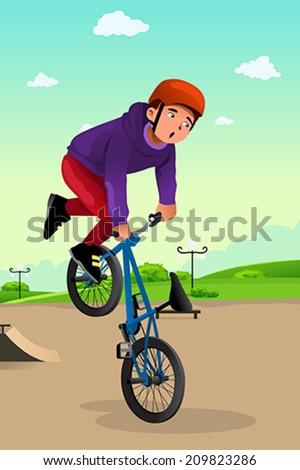 A vector illustration of boy doing stunt on a bike - stock vector