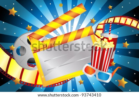 A vector illustration of bright movie background - stock vector