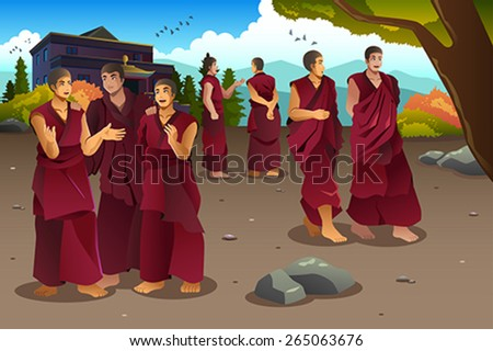 A vector illustration of Buddhist monks in Tibet temples - stock vector