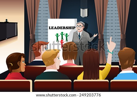 A vector illustration of business people in a seminar for leadership concept - stock vector